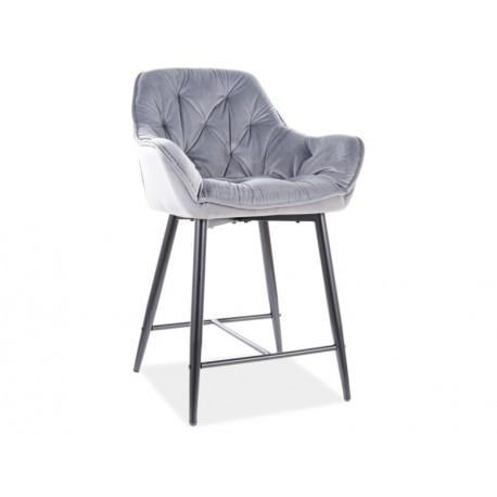 thumb Полубарный стул CHERRY H-2 VELVET черный каркас / серый BLUVEL 14 1