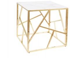 Журнальный столик ESCADA B II белый эффект мрамора / золото 55X55