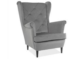 Кресло LADY MATT VELVET 85 серый / венге