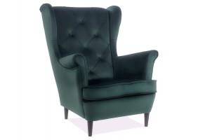 Кресло LADY MATT VELVET 75 зеленый / венге