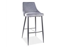 Барный стул PIANO B H-1 VELVET черный каркас / серый BLUVEL 14