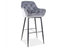 Барный стул CHERRY H-1 VELVET черный каркас / серый BLUVEL 14
