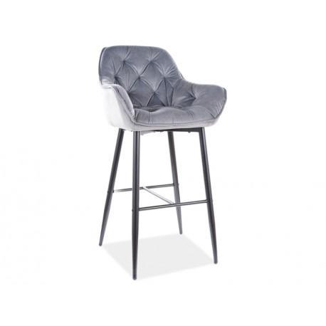 thumb Барный стул CHERRY H-1 VELVET черный каркас / серый BLUVEL 14 1