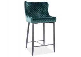 Полубарный стул COLIN B H-2 VELVET черный каркас / зеленый BLUVEL78