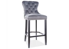 Барный стул AUGUST H-1 VELVET черный каркас / серый BLUVEL 14