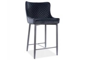 Полубарный стул COLIN B H-2 VELVET черный каркас / черный BLUVEL19