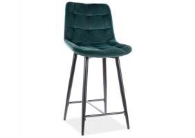 Полубарный стул CHIC H-2 VELVET черный каркас / зеленый BLUVEL 78