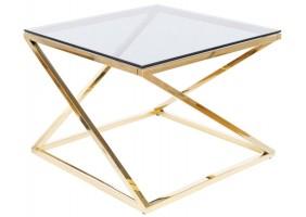 Журнальный столик LIAM стекло димчасте / золото 60X60