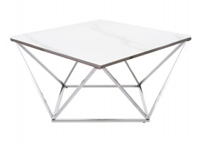 Журнальный столик SILVER A II белый эффект мрамора / сталь 80X80