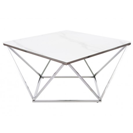 thumb Журнальный столик SILVER A II белый эффект мрамора / сталь 80X80 1