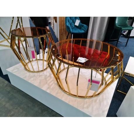 thumb Журнальный столик ARIANA A стекло дымчатое янтарное/ золото Диаметр 80 2