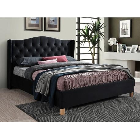 thumb Двуспальная кровать ASPEN VELVET 160x200 цвет черный / дуб Черный 1