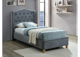 Односпальная кровать ASPEN VELVET 90x200 цвет серый / дуб BLUVEL 14