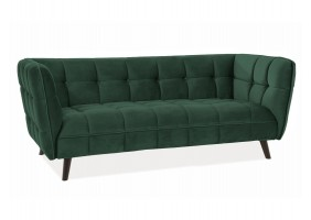 Диван CASTELLO 3 VELVET зеленый BLUVEL 78 / венге