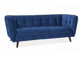Диван CASTELLO 3 VELVET синий BLUVEL 86 / венге