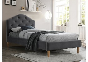 Односпальная кровать CHLOE VELVET 90X200 серый / дуб BLUVEL 14