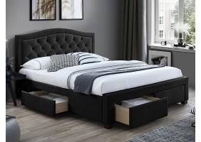 Двуспальная кровать ELECTRA VELVET 160X200 цвет черный / дуб TAP.186