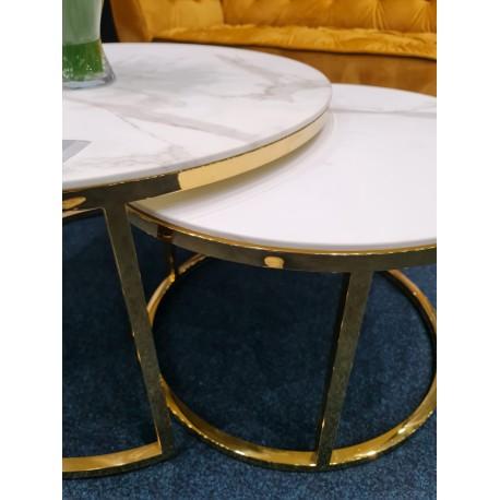 thumb Журнальный столик MUSE белый эффект мрамора / золото (Комплект) 9