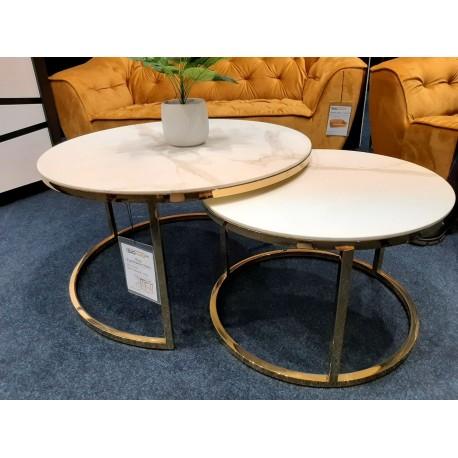 thumb Журнальный столик MUSE белый эффект мрамора / золото (Комплект) 7