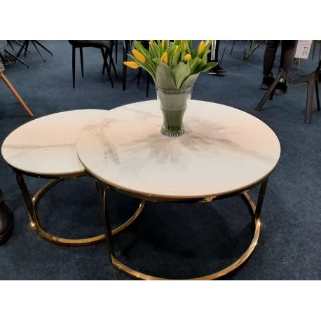 thumb Журнальный столик MUSE белый эффект мрамора / золото (Комплект) 3