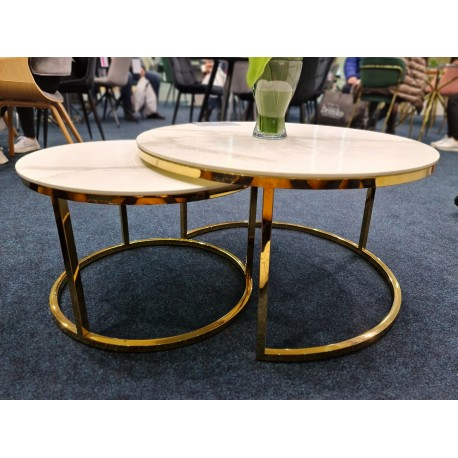 thumb Журнальный столик MUSE белый эффект мрамора / золото (Комплект) 12