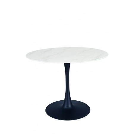 thumb Стол ONTARIO белый эффект мрамора / черный каркас Диаметр 100 2