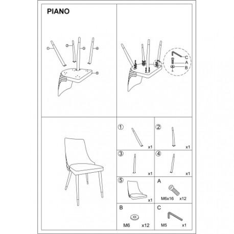 thumb Cтул Piano Velvet Античный Розовый/Черный/Золотой 2