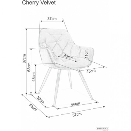 thumb Кресло Cherry Velvet Серый/Черный 2