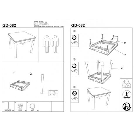 thumb Стол обеденный GD-082 80(131)x80 Серый 2