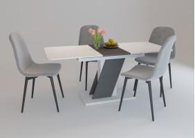 Стол обеденный Carvelo 140(180)x80 Белая Аляска / Черный Униколор